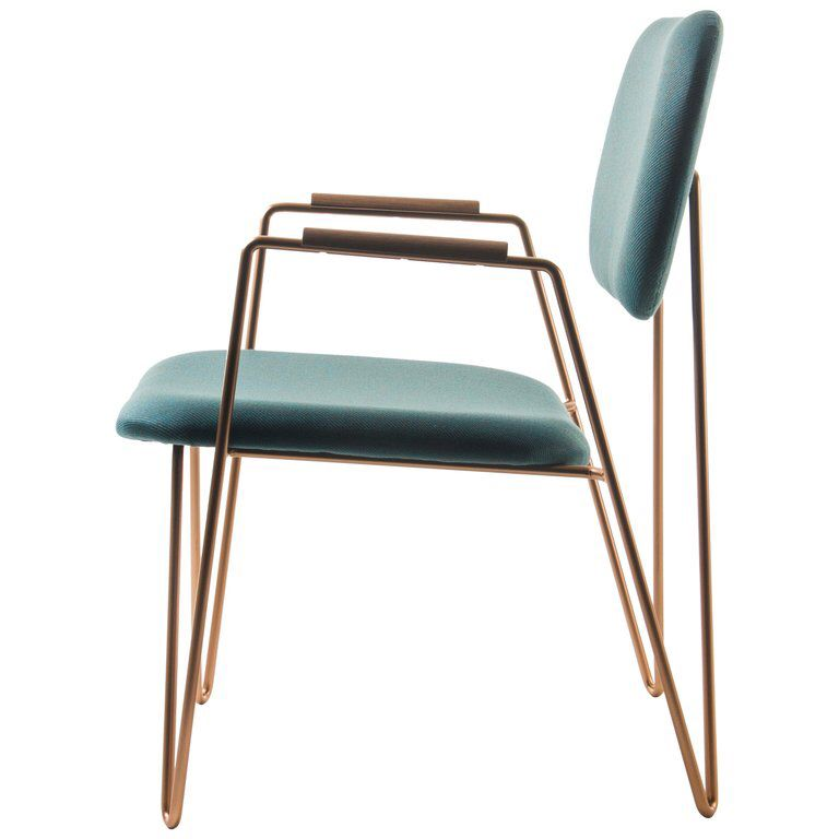 Best Bruna Minimalist Armchair In Painted Steel And Blue 640 x 480