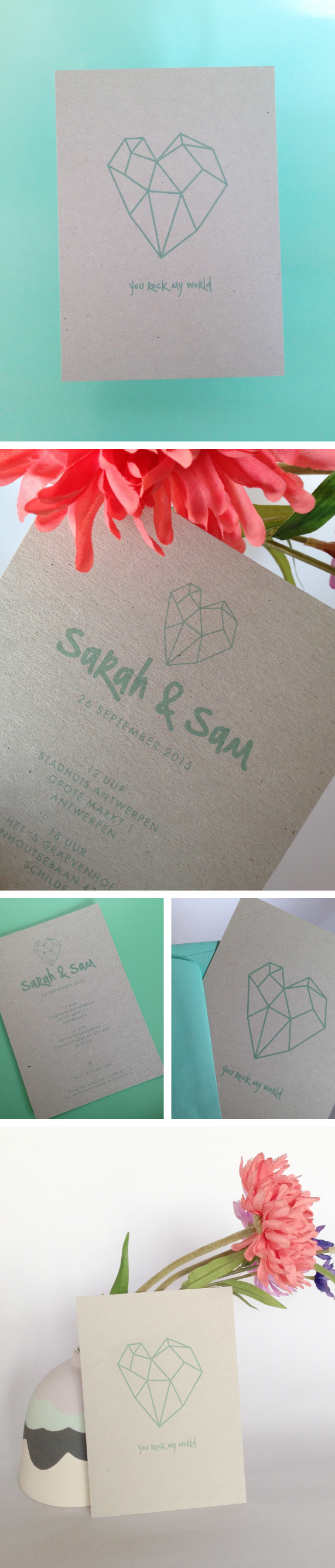 Bruiloft Uitnodigingskaarten Hart, Mint Green, Heart, Love, Invitation, Recycled Paper