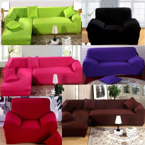 L Shape Stretch Elastic Fabric Sofa Cover Pet Dog Sectional Corner Couch Covers Ebay Fabric Sofa Cover Couch Covers Sofa Covers