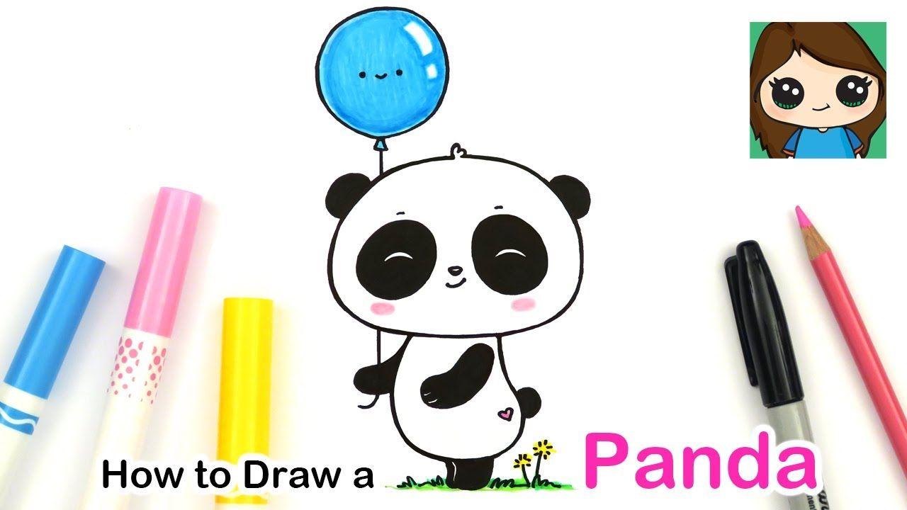 How To Draw A Cute Panda Holding A Balloon Easy Youtube Simple Cartoon Drawings Kawaii Panda