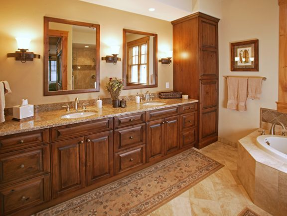 Master Bathroom Ideas Photo Gallery Master Vanity With Tall Linen Cabinet At The End Bathroom Photos Bathroom Remodel Shower Bathroom Remodel Small Shower