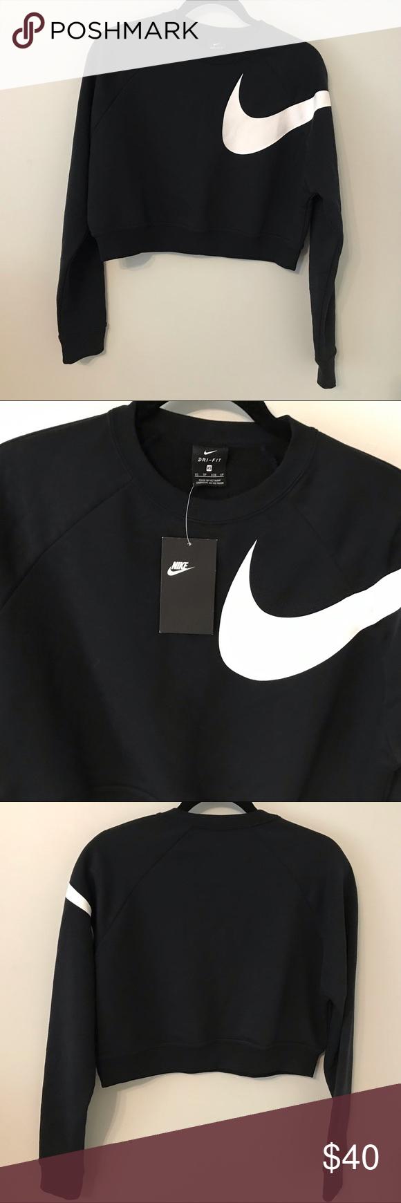 Nike Cropped Crew Neck Sweatshirt Xs Nwt Nike Dri Fit Cropped Crew Neck Sweatshirt In Black With White Nike Swoosh Crew Neck Sweatshirt White Nikes Sweatshirts [ 1740 x 580 Pixel ]