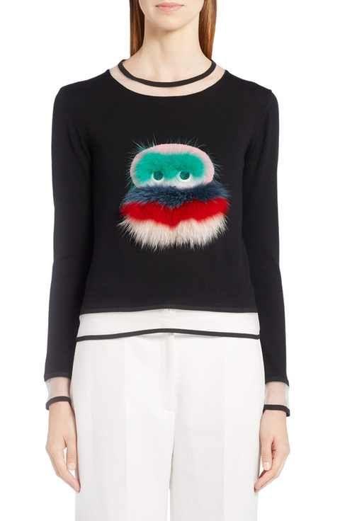 Bug Fox Genuine TrimVvv Fendi Sweater With Fur Leatheramp; MLSUzVGqp