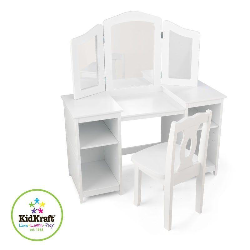 Tocador y silla de ni a grande de la marca kidkraft para for Sillas para tocador