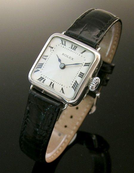 1913 square silver vintage ladies Rolex watch - Olde Timers
