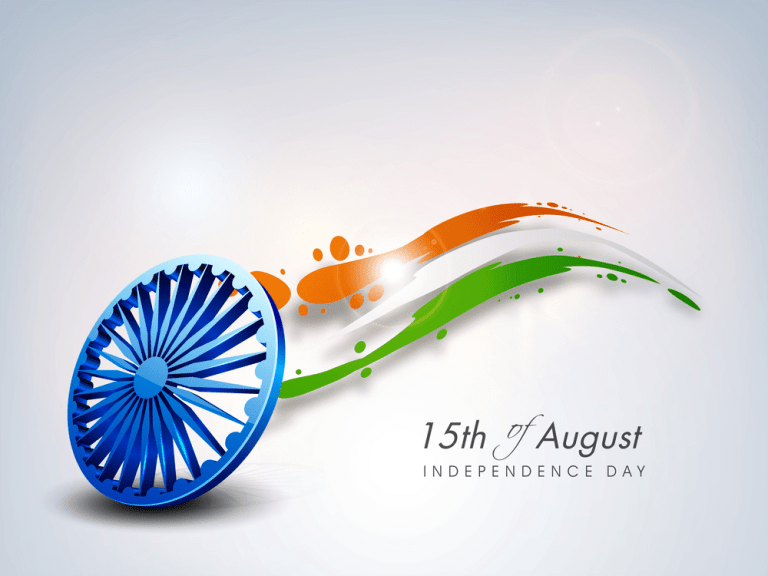 Indian Independence Day background with 3D Ashoka wheel