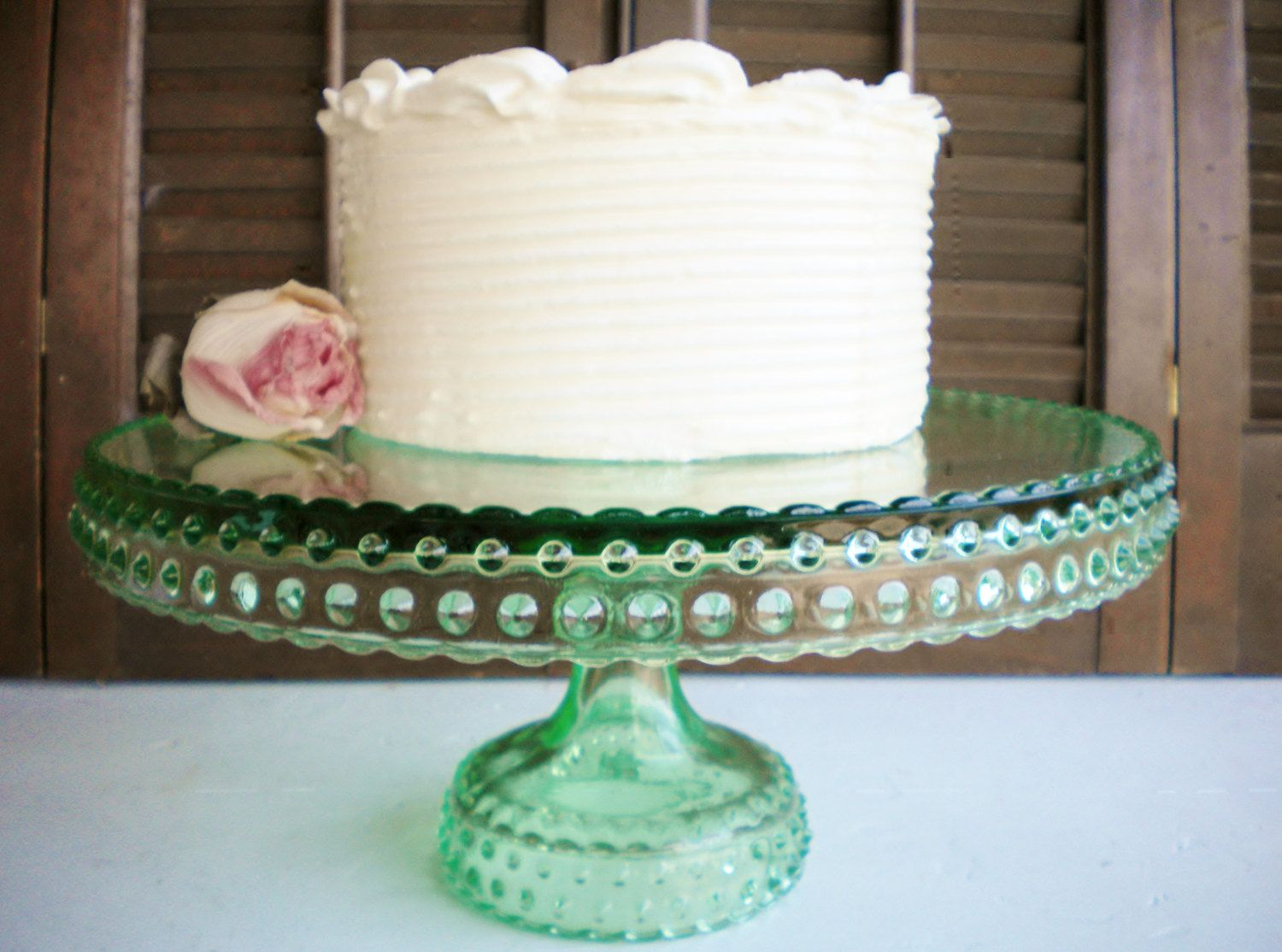 Green Glass Cake Stand/Wedding Cake Stand/ Cupcake Stand/Vintage LE ...