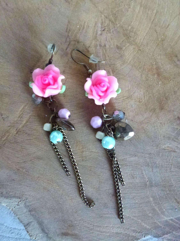 pink rose long earrings- dangle earrings- fimo roses jewelry- lover gift- romantic wear for girl- sweet mood earrings-gold heart earrings by NavelVintage on Etsy