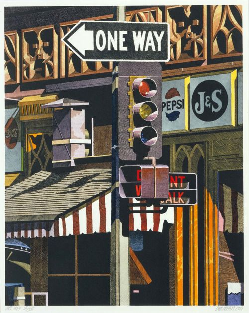 transistoradio:  Robert Cottingham (b.1935), One Way (1984), hand-coloured lithograph on paper, 50.8 x 63.5 cm). Collection of Smithsonian American Art Museum, Washington, DC, USA. Via Smithsonian.