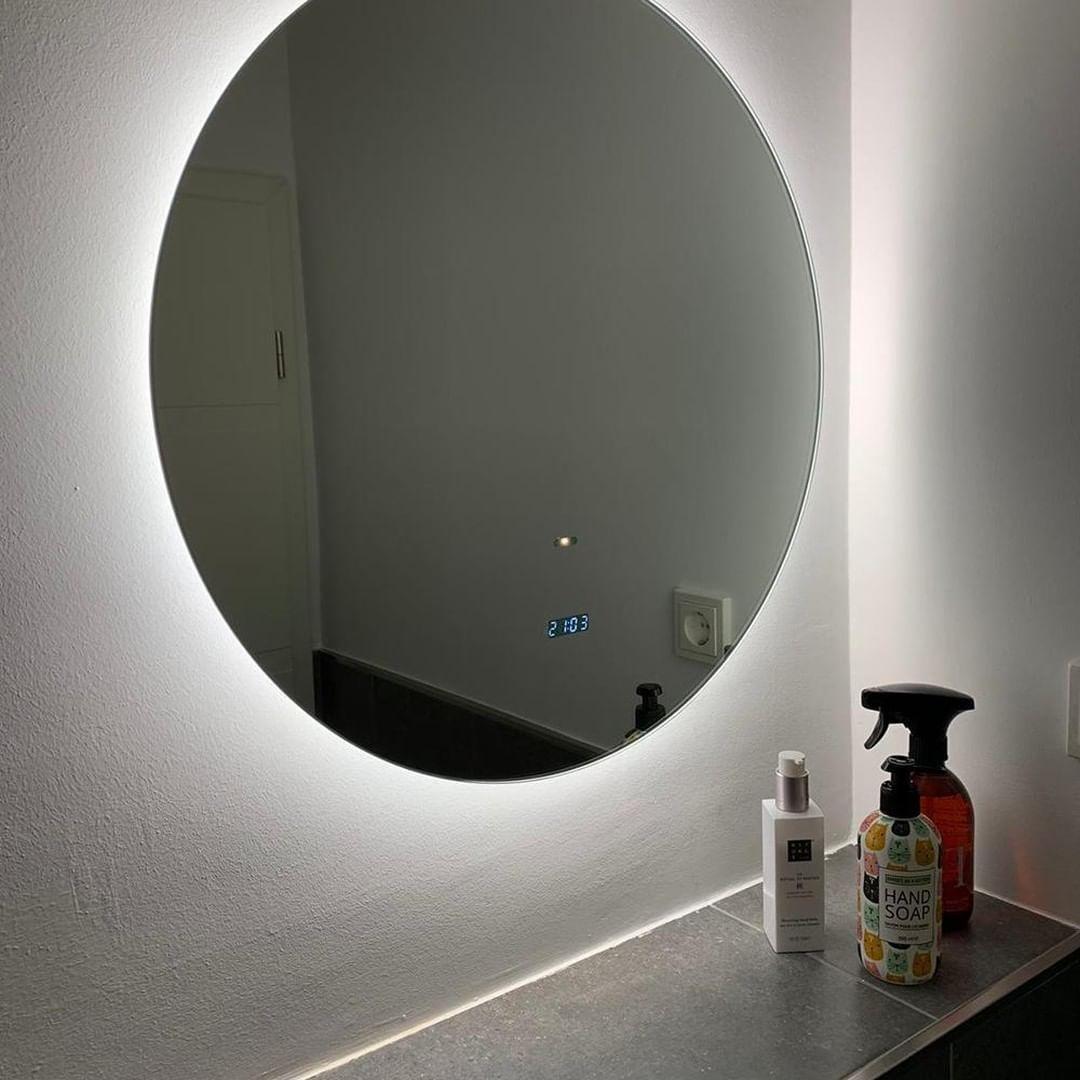 Leuchtende Bad Ideen Runder Led Spiegel Mit Hintergrund
