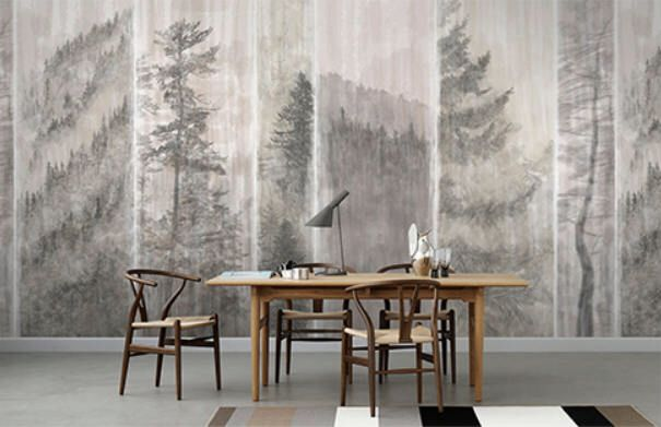 Misty Pine Trees Wallpaper Oriental Black and White Wall Mural Foggy