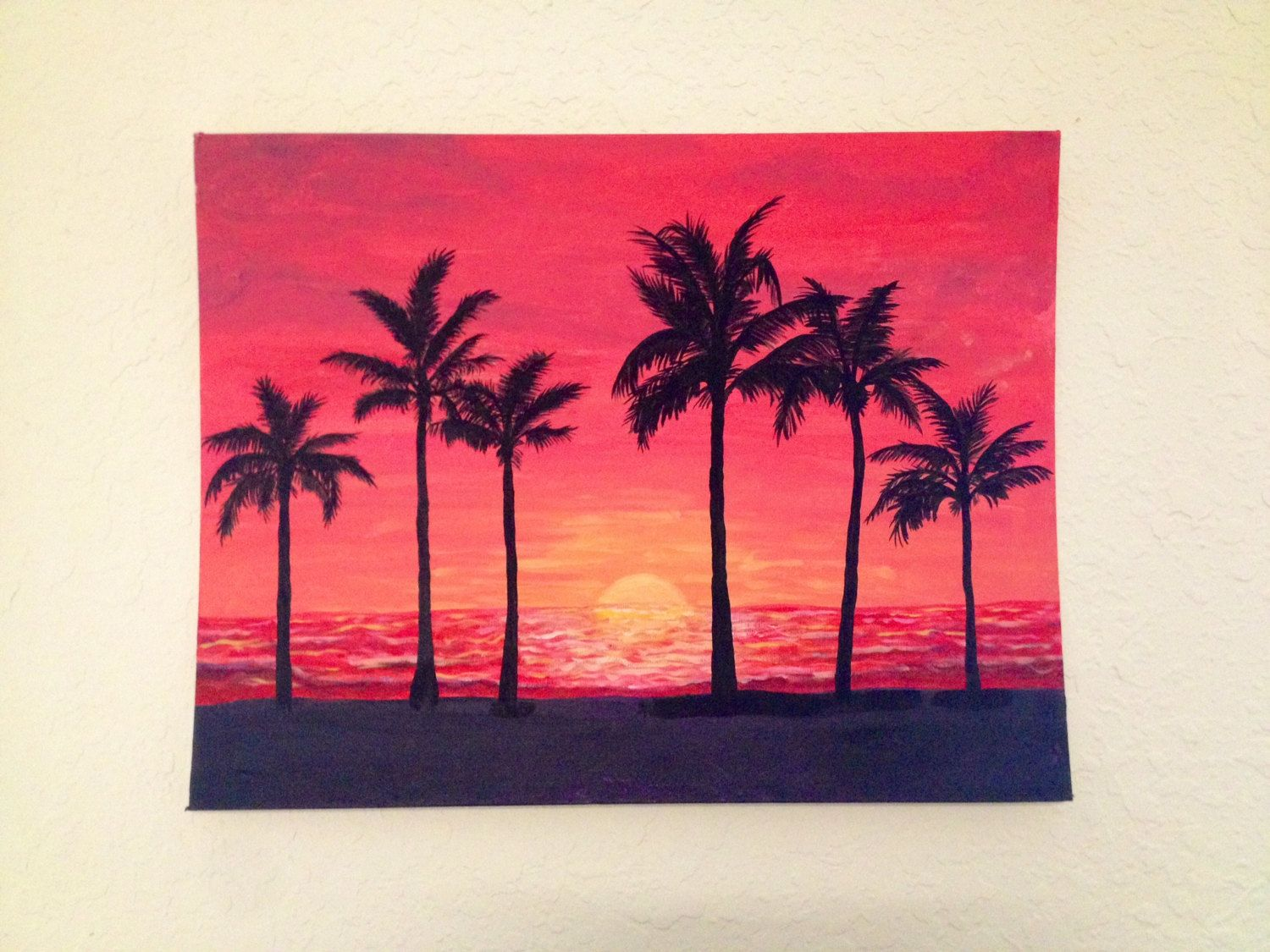 Sunset With Palm Tree Silhouettes Acrylic Painting By Katejpaint