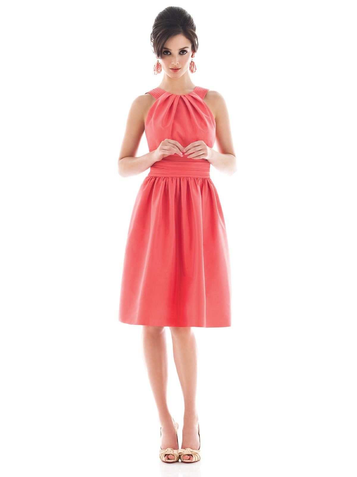 Bright pink dress for wedding guest  Lovely hot pink bateau dress with pleated center knee length a