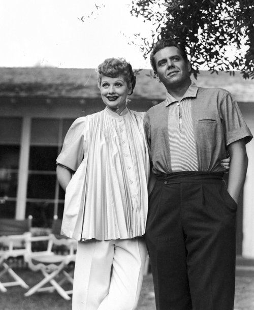 Just when she was about to launch her soon-to-be-smash TV show I LOVE LUCY, comedienne Lucille Ball was very pregnant with daughter Lucie, seen here with her husband Desi Arnaz (1951)