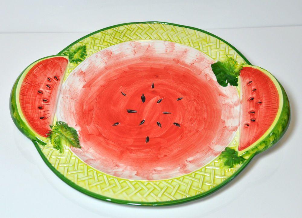 Bassano Keramik Platte Rund 42 Cm Wassermelone Melone