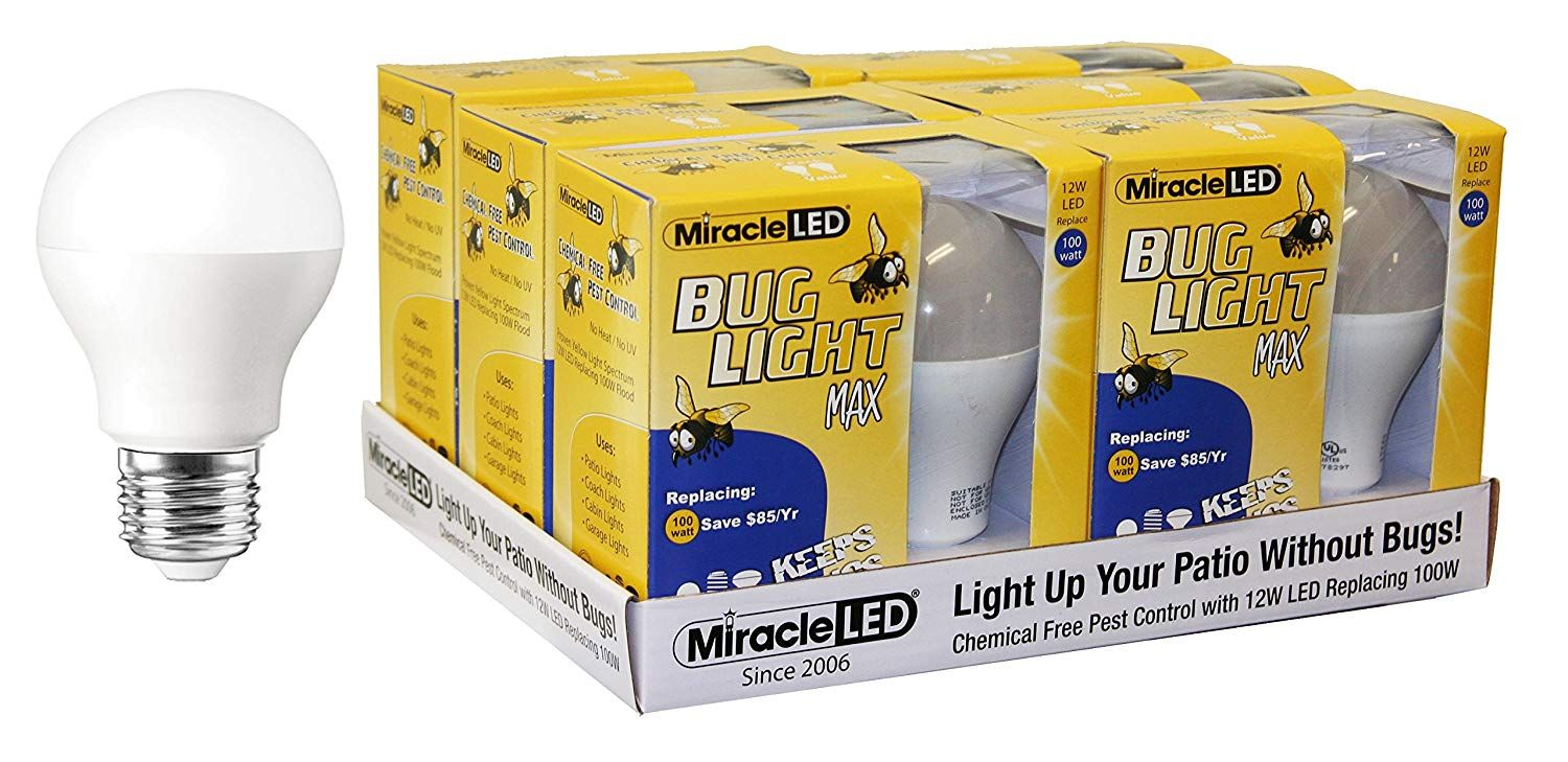 Miracle Led Yellow Bug Light Max Replaces 100w A19 Outdoor Bulb For Porch And Patio 12 Pack 604975 Want Additional Info Cli Outdoor Bulbs Bulb Led