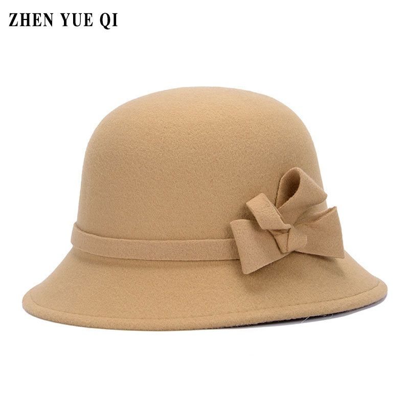 a15144b5bb2a5 Bowler Bucket Hats Vintage Hats Women Fedoras 2017 Retro Female Lady Floppy  Cloche Hat Bowknot England