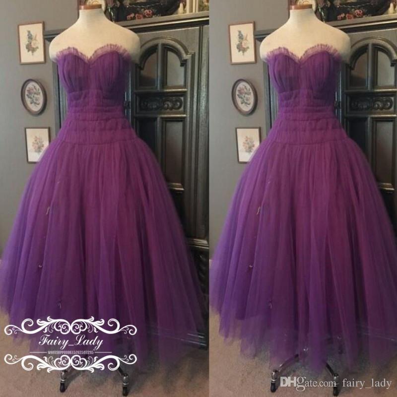 2017 Tea Length Purple Bridesmaid Dresses Country Pleat Tulle A Line ...