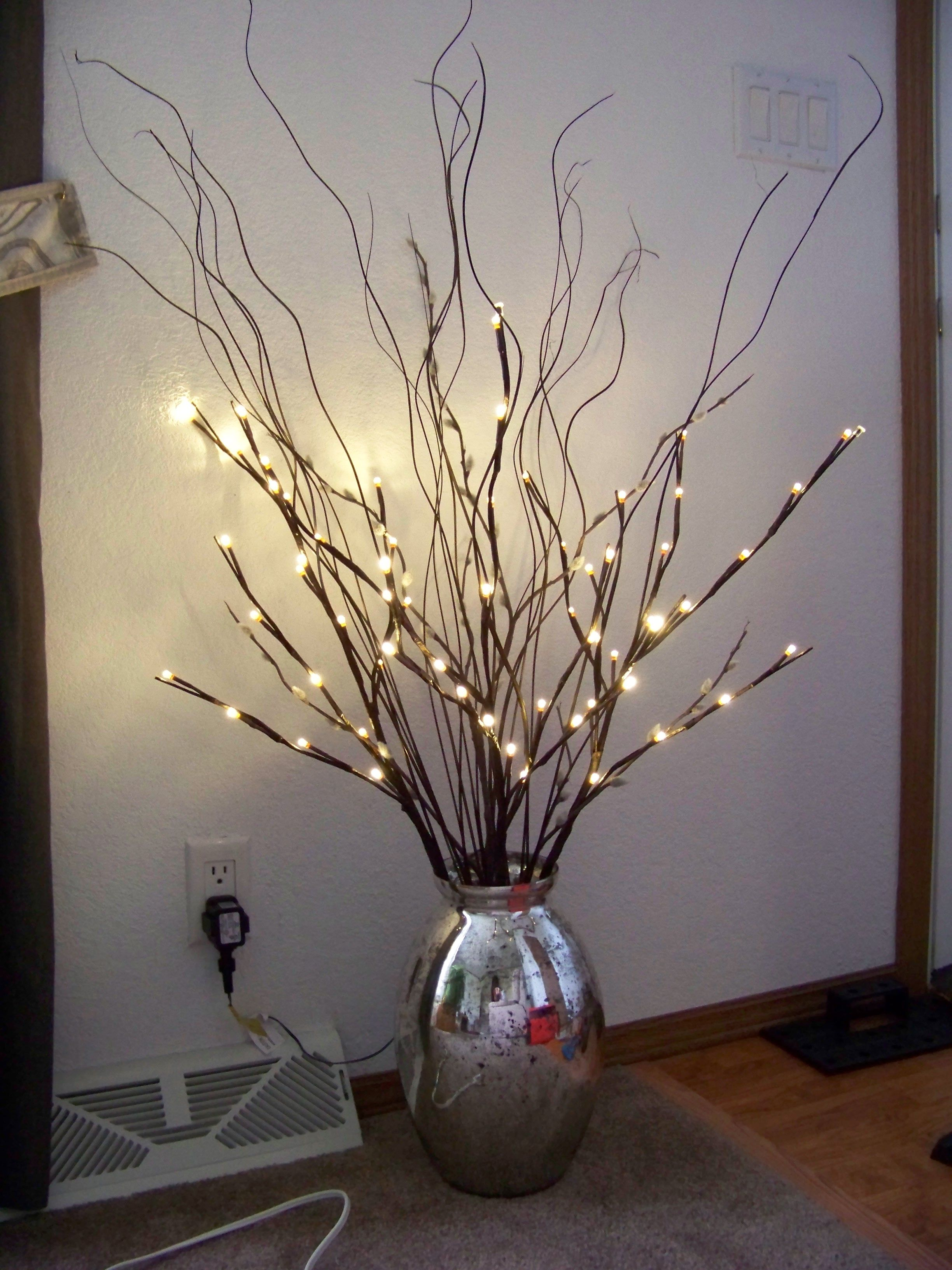 image result for lighted twig branches glass vase plants