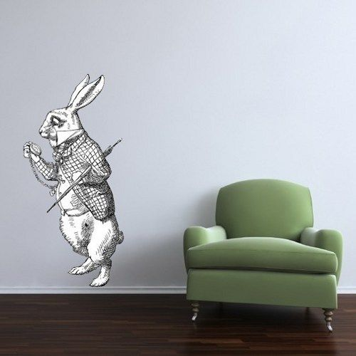 Attirant Giant Late Rabbit Alice In Wonderland Vinyl Wall Decal | WilsonGraphics    Housewares On ArtFire