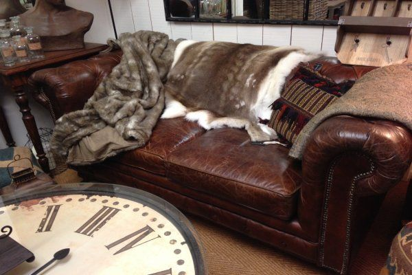 Vintage Leather 2 Seater Chesterfield Sofa Along With