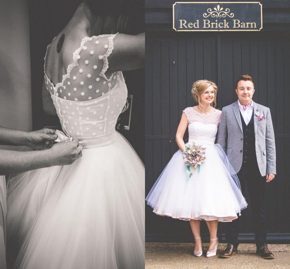 Günstige Vintage 1950 s Stil Polka Punktierte Short Brautkleider Tee ...