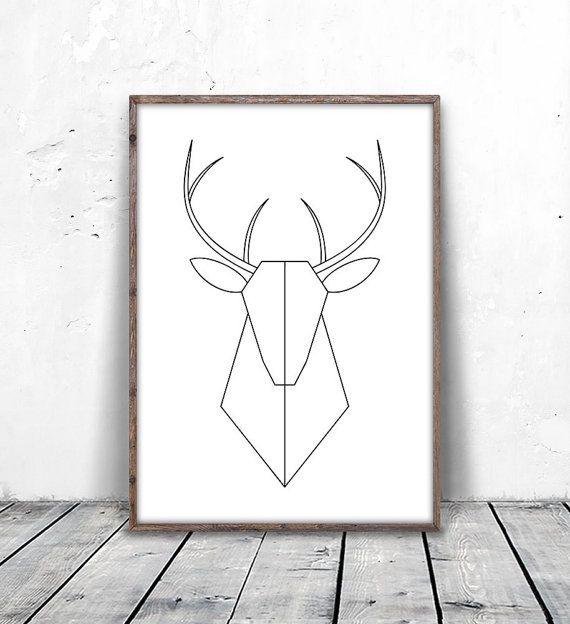 Geometric Deer Art Deer Print Minimalist Deer Deer Head Print Geometric Deer Modern Deer Print Printable Deer Deer Printable Herten Tekening Prints Etsy