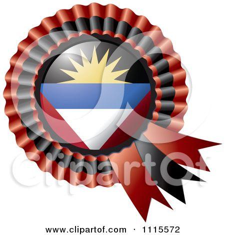 Clipart Shiny Antigua And Barbuda Flag Rosette Bowknots Medal