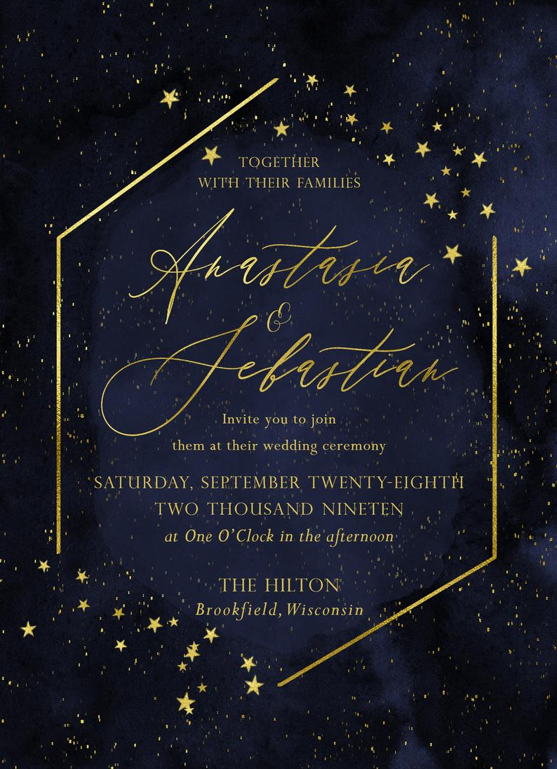 Wedding Invitations Blue Wedding Invitations Weddinginvitations Celestial Wedding Invitations Starry Night Wedding Starry Wedding