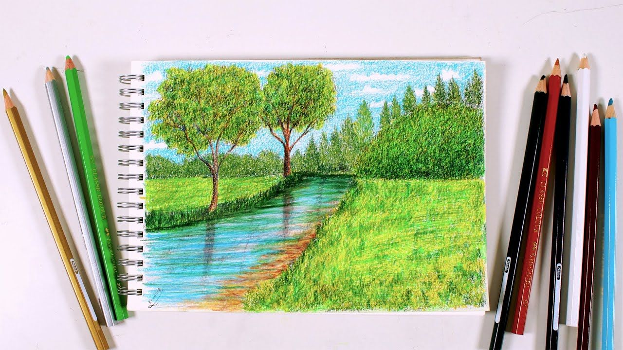 How To Draw A Simple Landscape With Wooden Color Faber Castell Classic Drawings Landscape Faber Castell