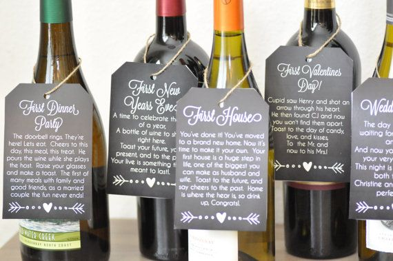 photograph relating to Printable Wine Tags for Bridal Shower Gift referred to as What a lovable bridal shower present! Wine tags for the very first calendar year
