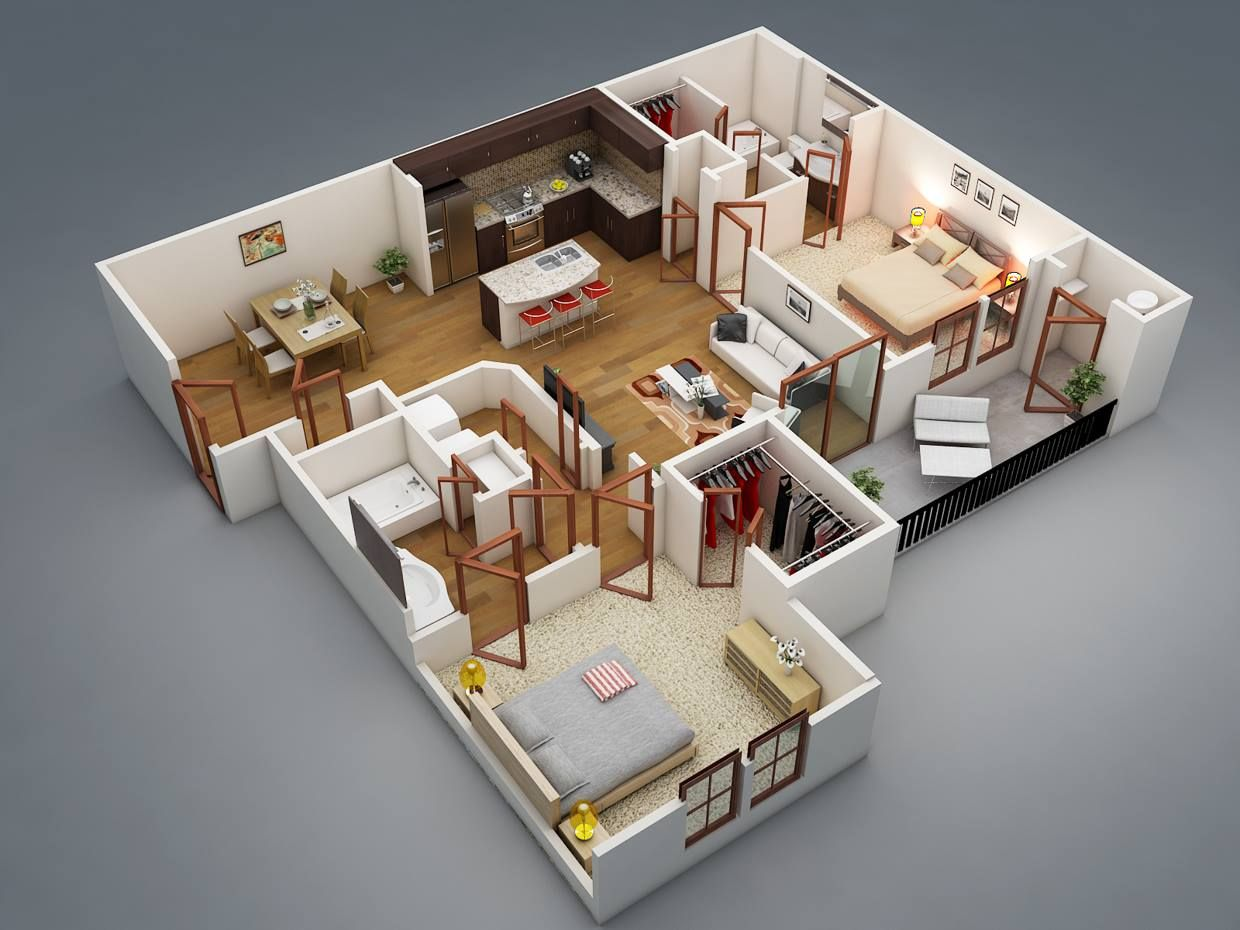 twobedroom bedroom 2BHK apartmentdesign 3D apartment design