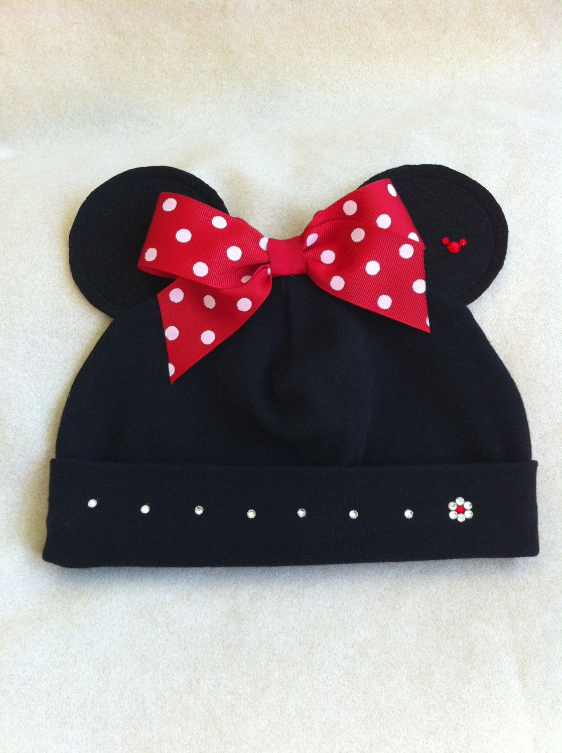 Adult Minnie Mouse Beanie Hat Choice of Red or Pink Bow