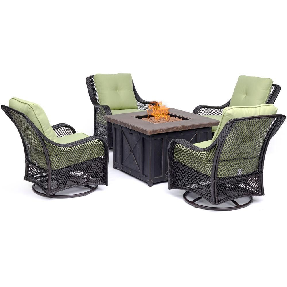 Hanover Orleans 5 Piece Steel Patio Fire Pit Conversation Set With