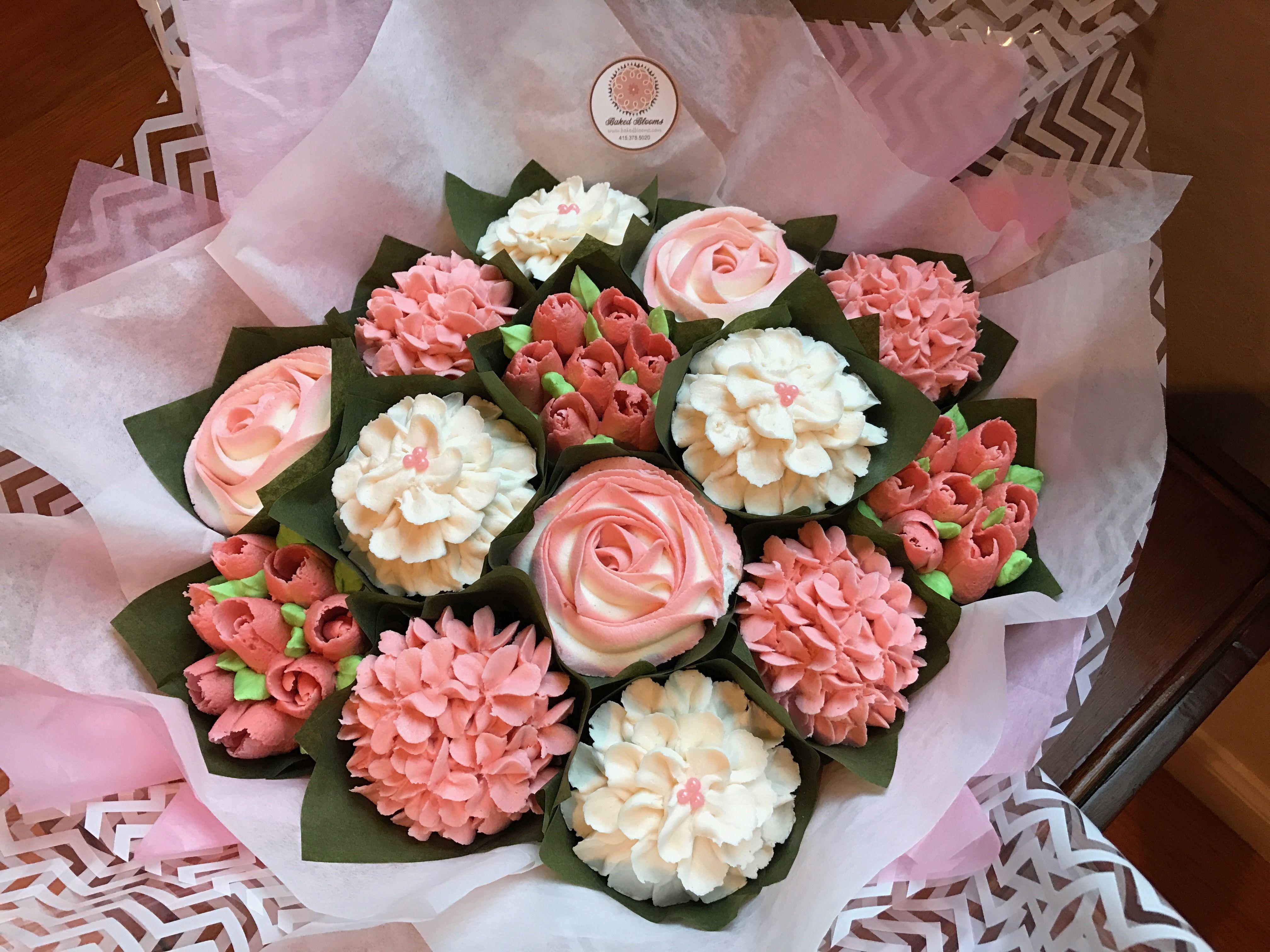 Medium pink cupcake bouquet bakedblooms baked blooms medium pink cupcake bouquet bakedblooms izmirmasajfo