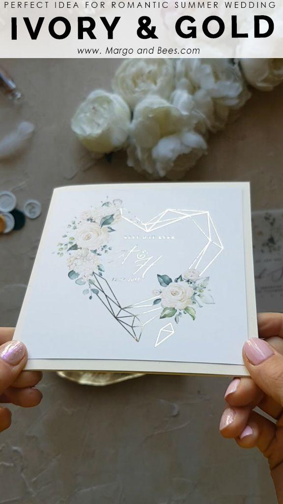 Oro Glamour Invitaciones de boda Reino Unido geométrico Corazón Vitela Brillo Sobre Cera Sello