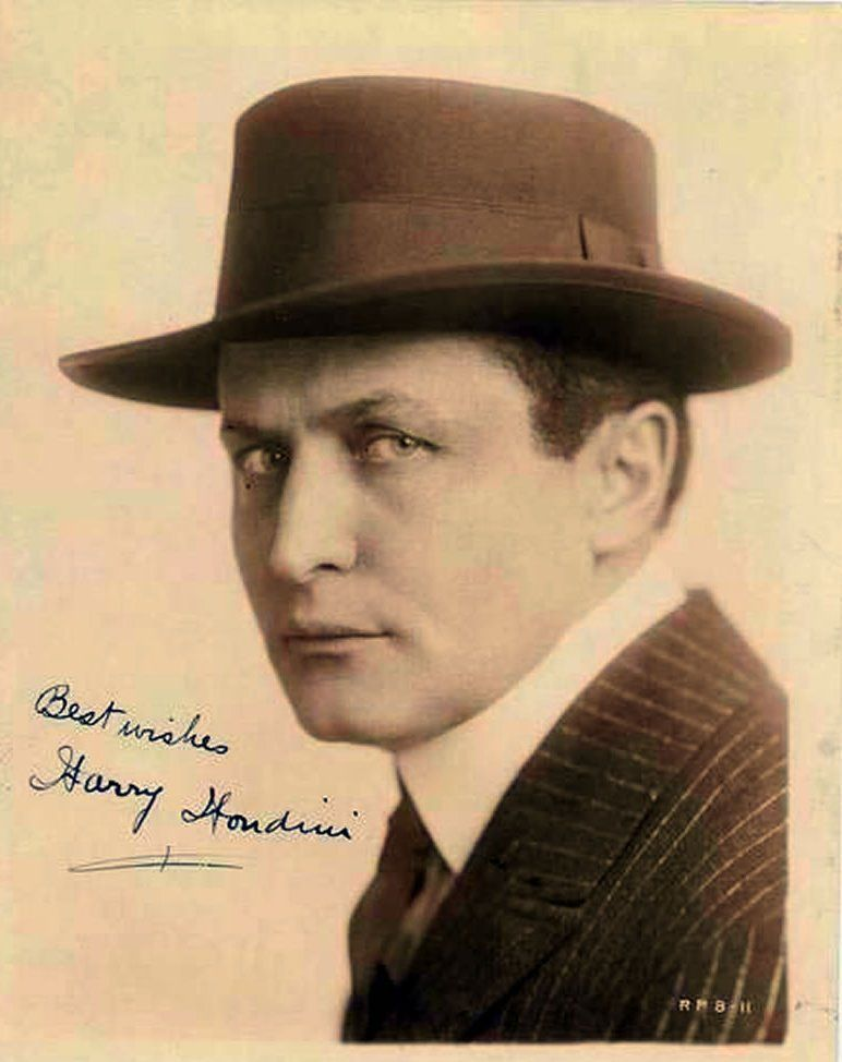 autographed picture of harry houdini
