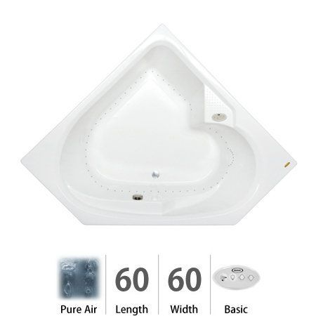 "Jacuzzi TAR6060 ACR 2XX 60"" x 60"" Tara Drop In Comfort Pure Air® Bathtub wit White Tub Air Corner"