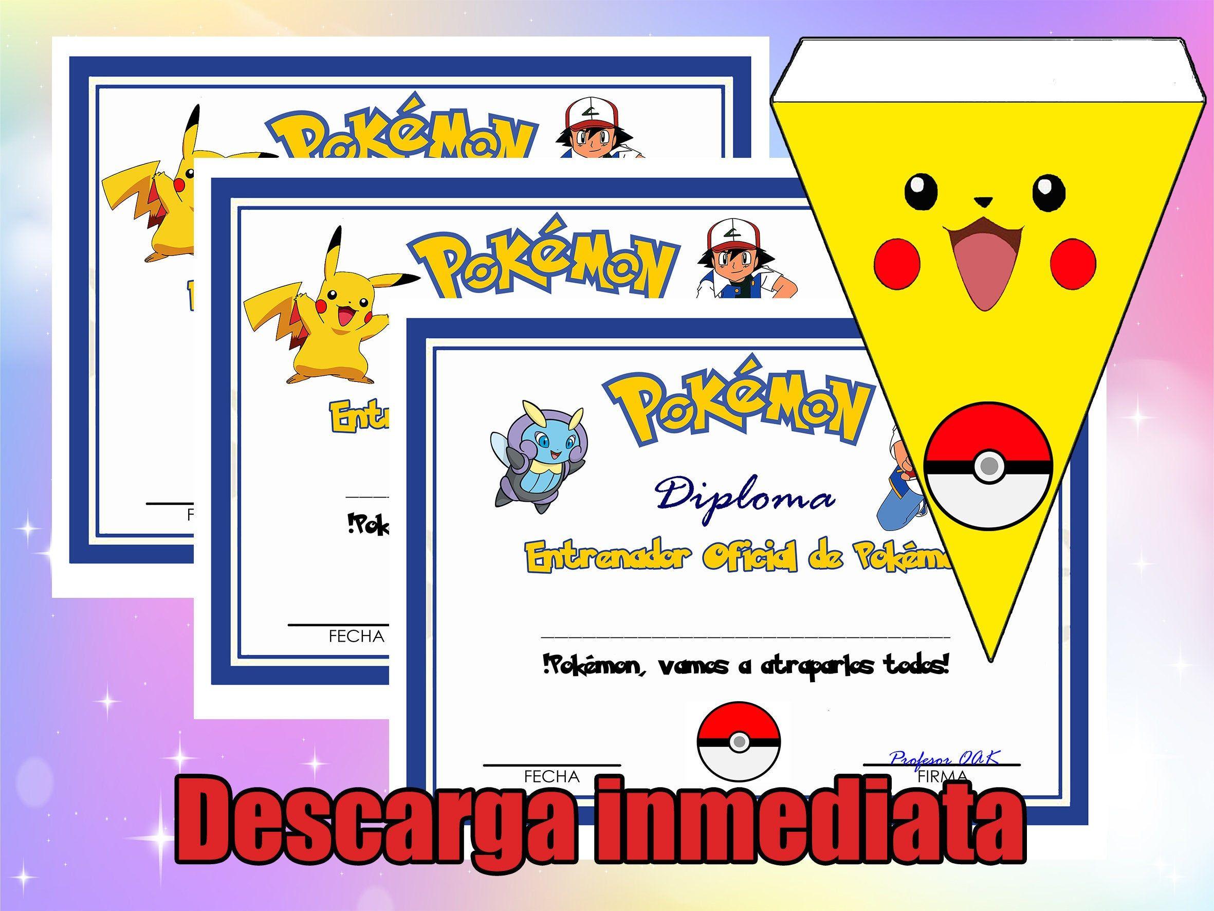 Diploma Juego Pokemon Go Pikachu Juego En Casa Fiesta De Cumpleaños Para Niños Banderas De Decoracion Certificado Espa Juegos De Pokemon Pokemon Pokemon Go
