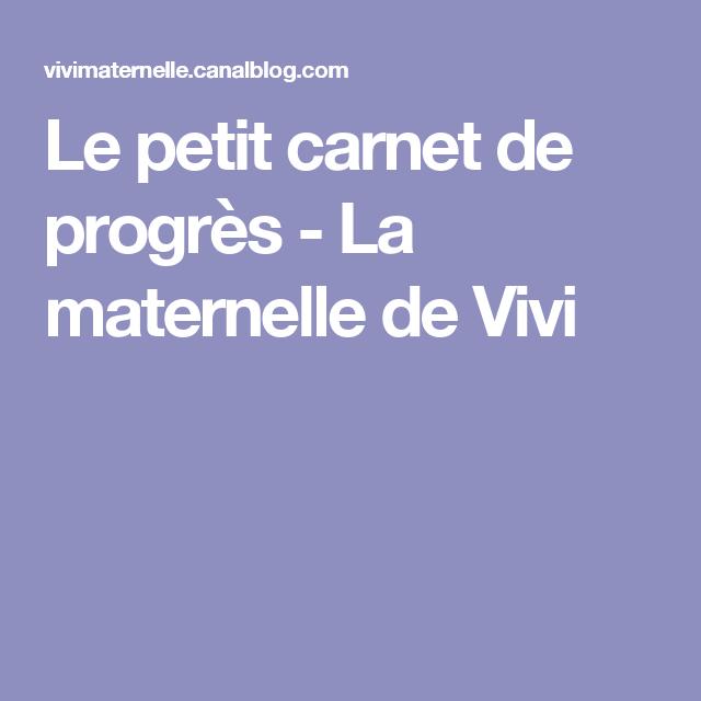 Le petit carnet de progrès - La maternelle de Vivi