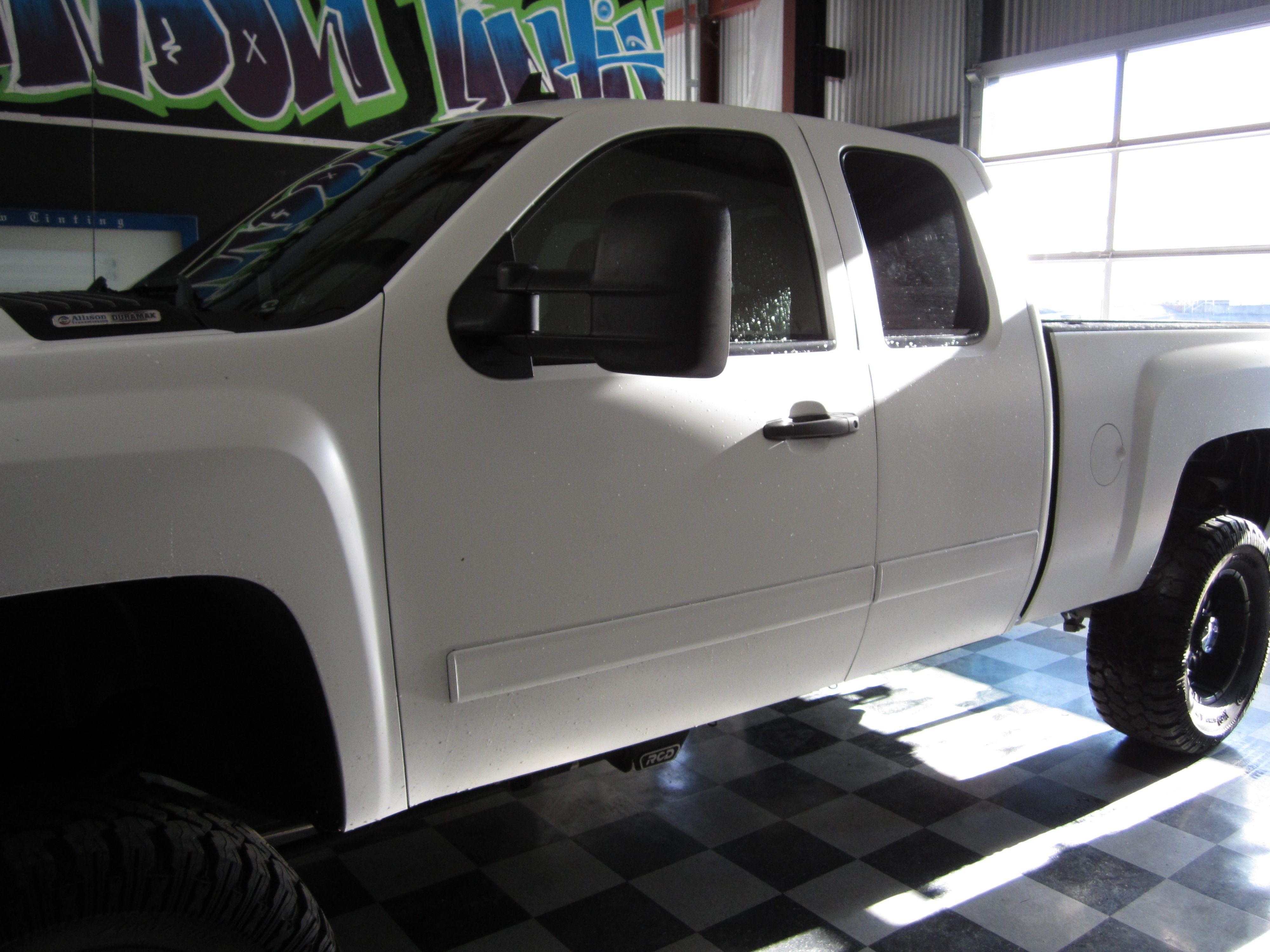 Matte White Vinyl Wrap On Gloss Black Truck Black Truck Vinyl Wrap White Vinyl
