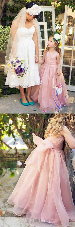 Glamorous Flower Girl Dresses, A-line Flower Girl Dresses, Long Flower Girl Dresses, Scoop Neck Organza Sashes / Ribbons Girls Dresses