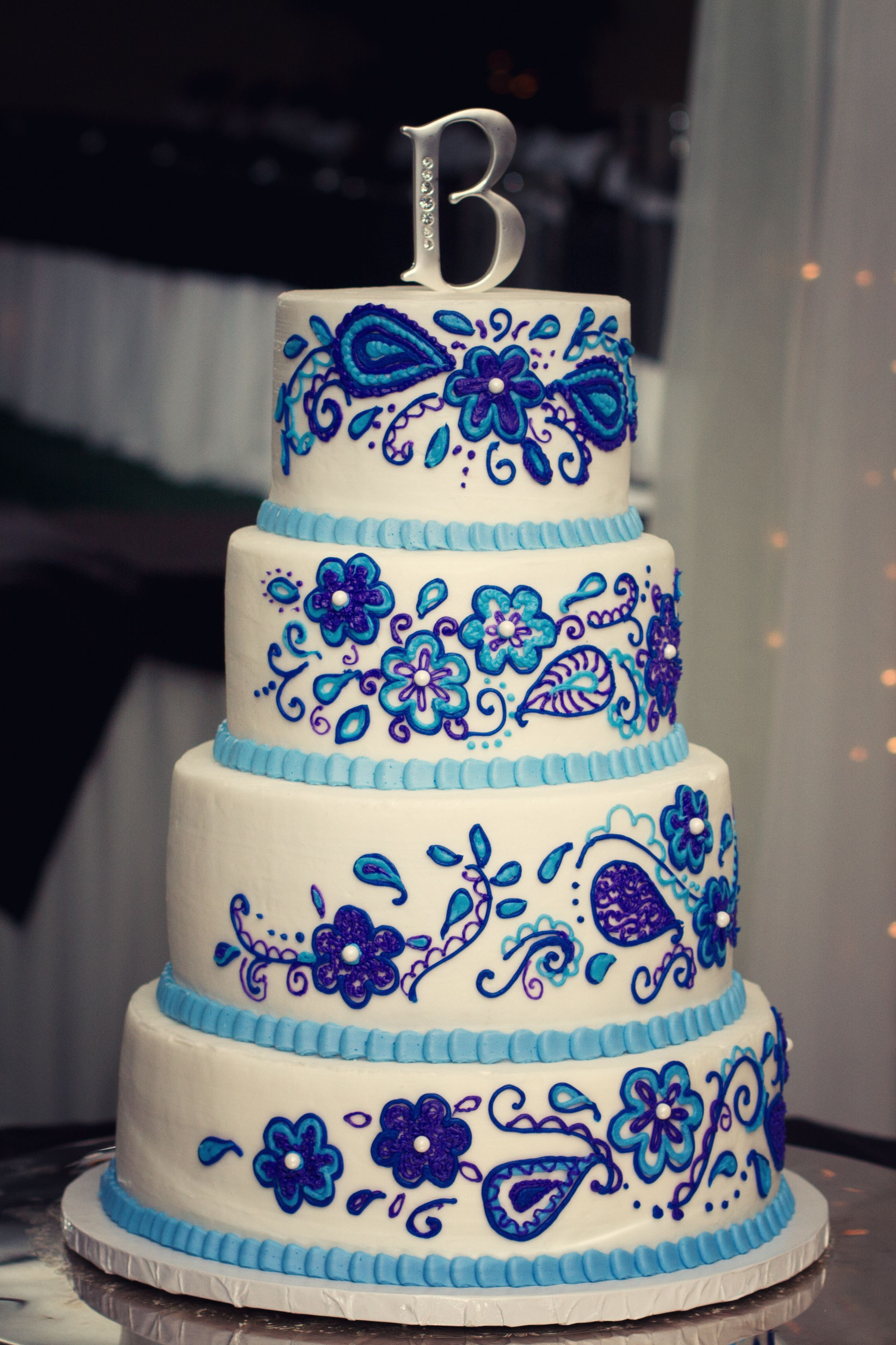 Purple And Royal Blue Wedding Cake