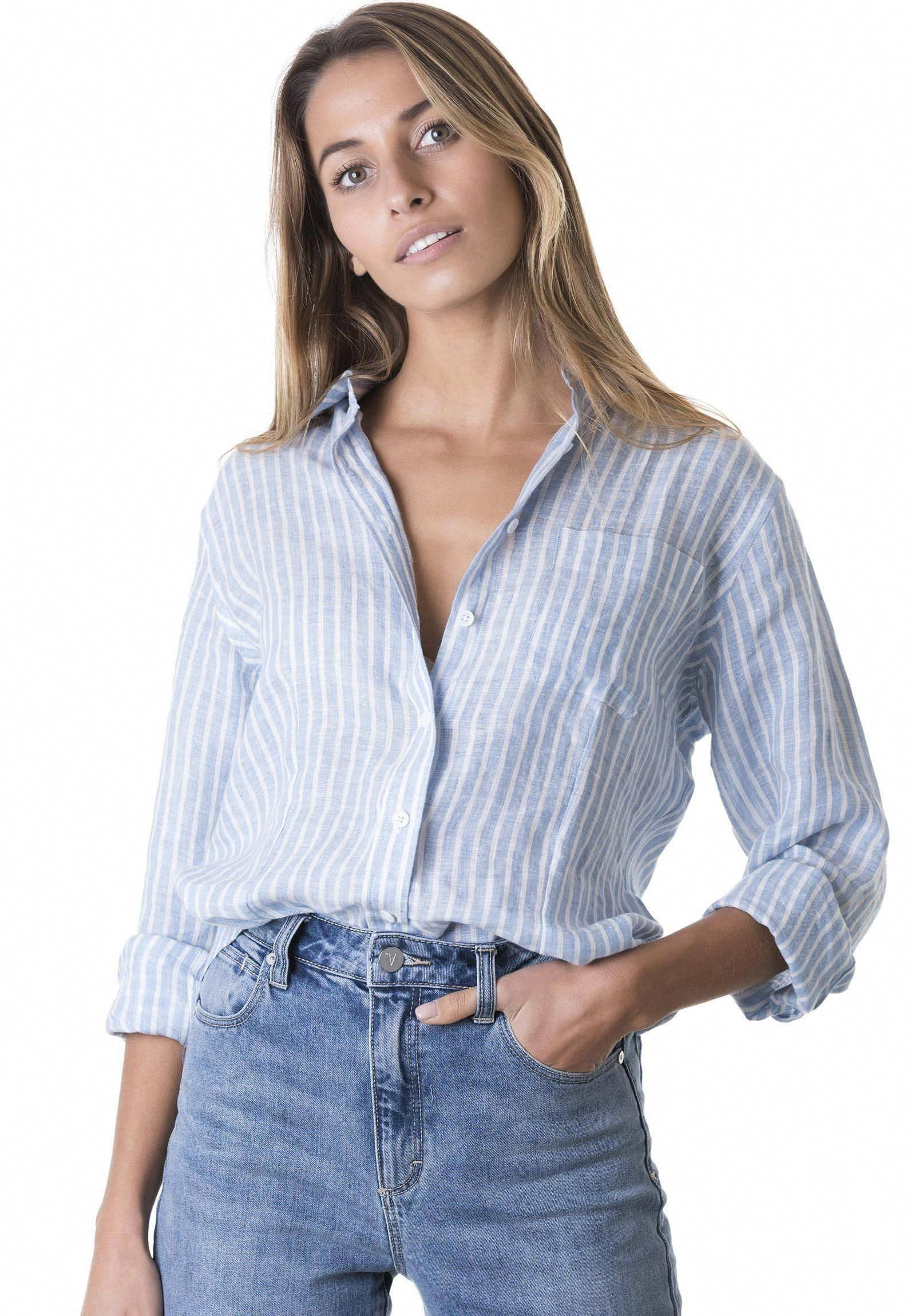15410ff897 Rina Chambray, Striped Linen Shirt #womenscasualfashion | Casual ...