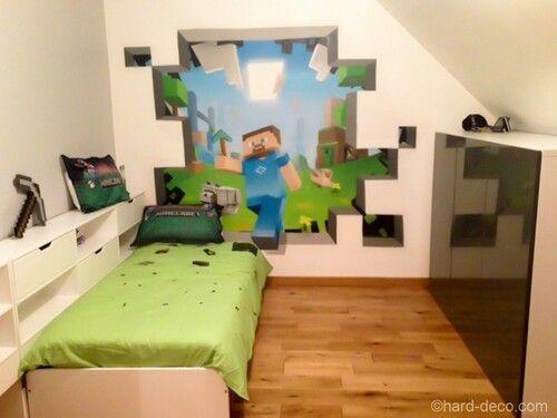 Minecraft Schlafzimmer ~ Minecraft wall quarto juvenil minecraft