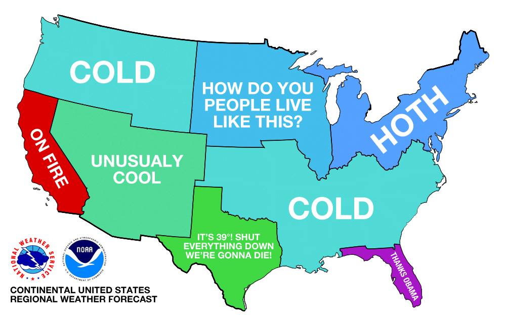 Weather Across The Us Map A map of how much snow it takes to cancel school across the U.S.