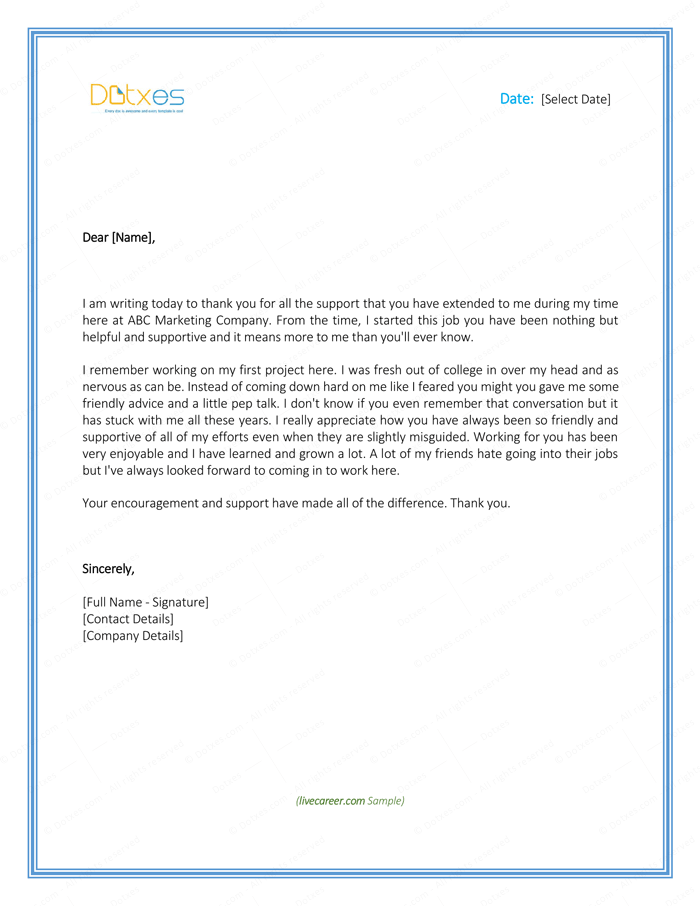 Thank You Letter Employer Download Free Samples And Templates