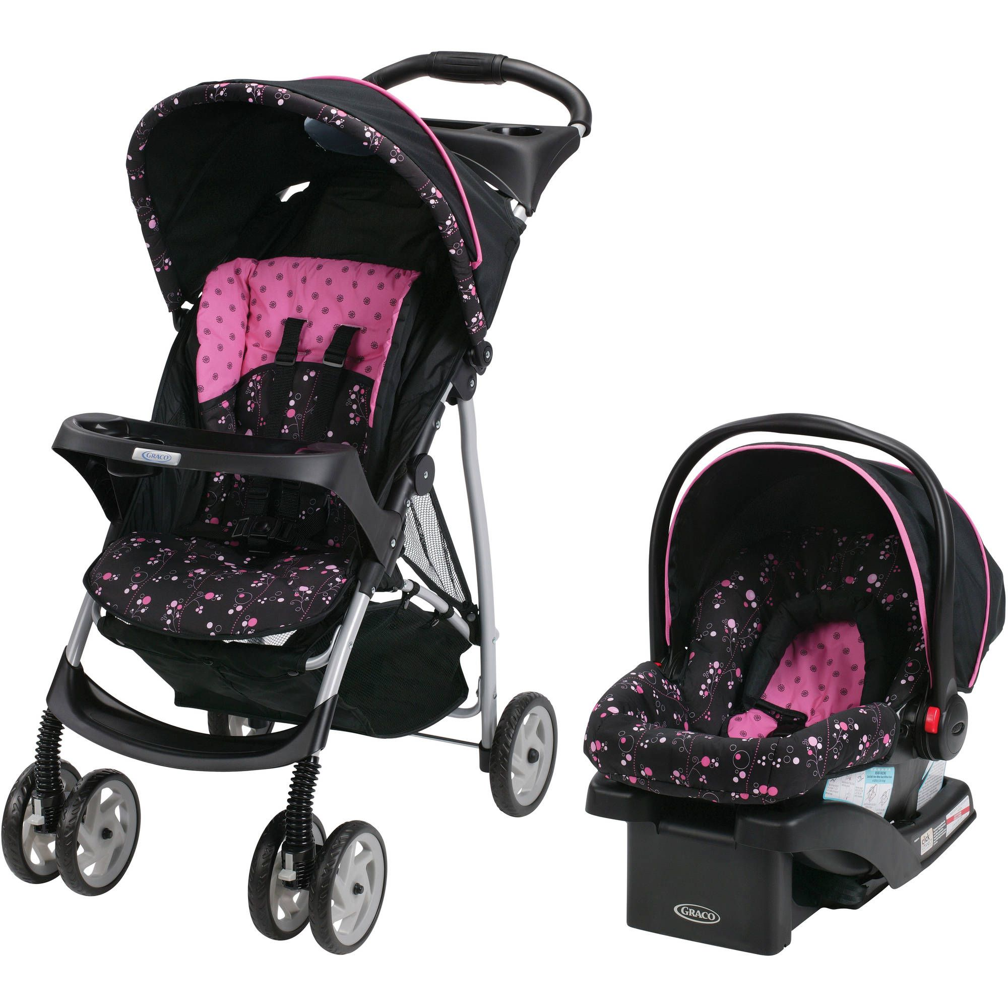 Graco LiteRider Click Connect Travel System With SnugRide 22 Infant Car Seat Priscilla