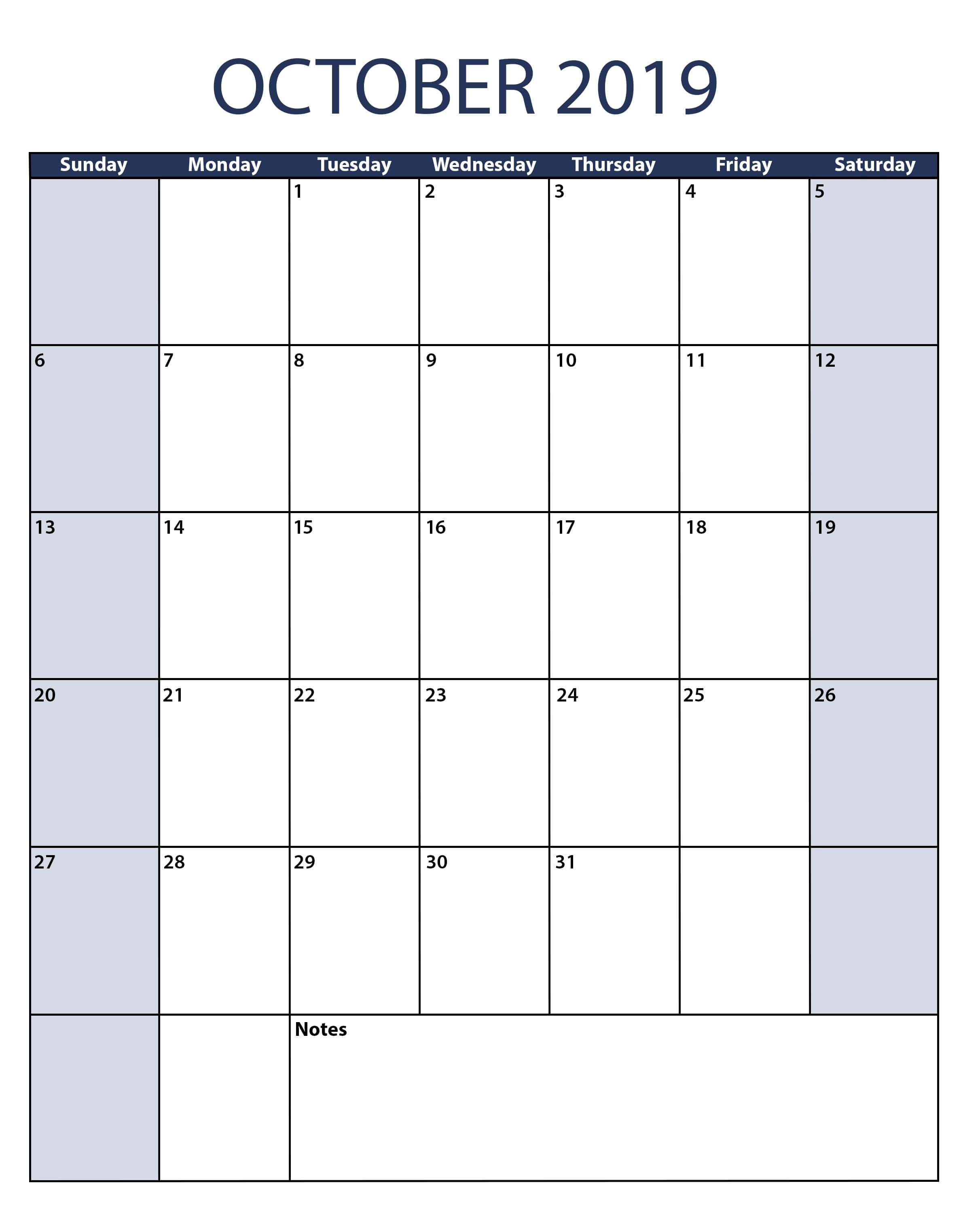 Professional October 2019 Calendar Excel Sheet Excel