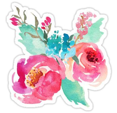 Watercolor Colorful Pink Coral Turquoise Flowers Sticker Floral